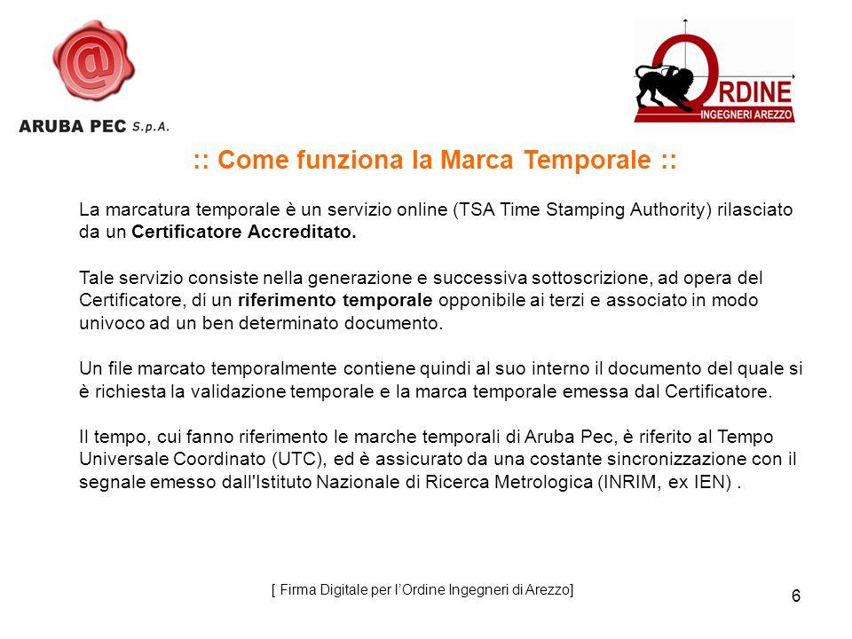 6 :: Come funziona la Marca Temporale :: La marcatura temporale è un servizio online (TSA Time Stamping Authority) rilasciato da un Certificatore Accreditato.