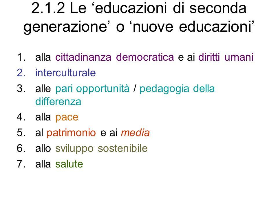 2.1.2 Le educazioni di seconda generazione o nuove educazioni 1.alla cittadinanza democratica e ai diritti umani 2.interculturale 3.alle pari opportun