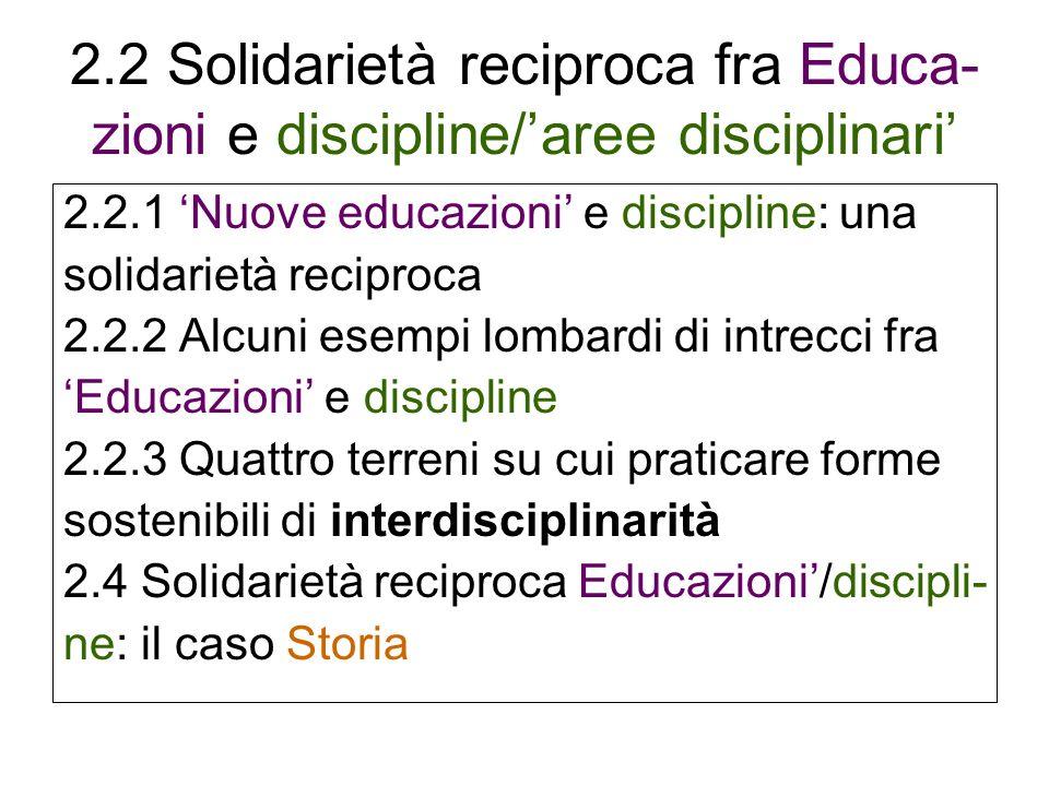 2.2 Solidarietà reciproca fra Educa- zioni e discipline/aree disciplinari 2.2.1 Nuove educazioni e discipline: una solidarietà reciproca 2.2.2 Alcuni