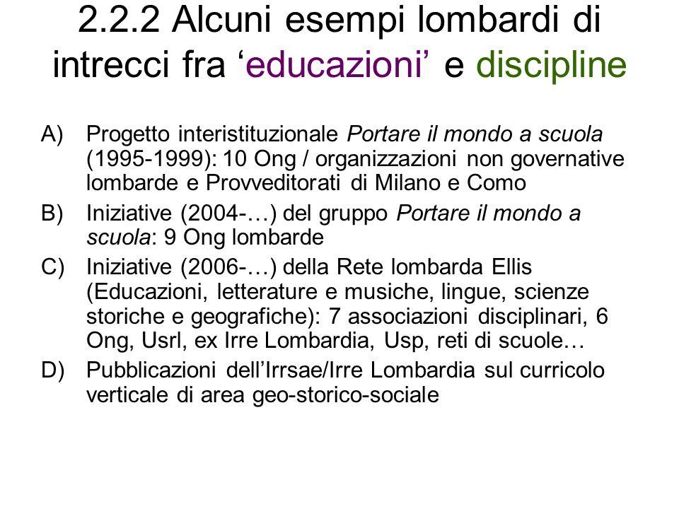 2.2.2 Alcuni esempi lombardi di intrecci fra educazioni e discipline A)Progetto interistituzionale Portare il mondo a scuola (1995-1999): 10 Ong / org