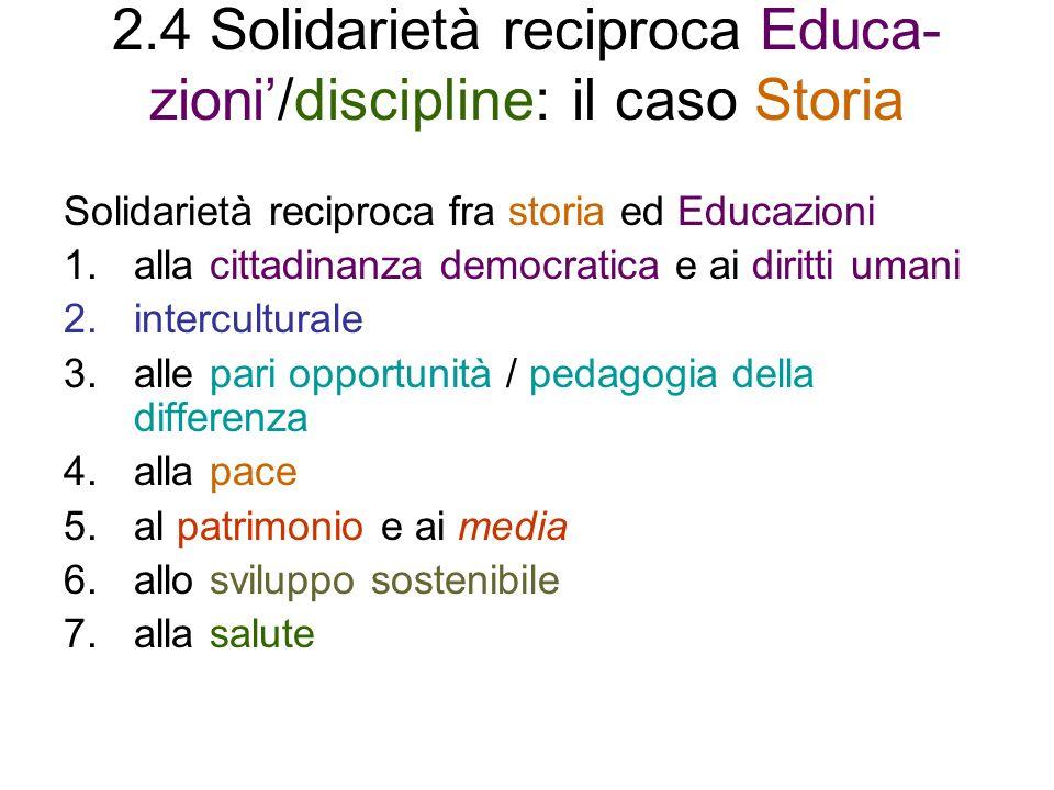 2.4 Solidarietà reciproca Educa- zioni/discipline: il caso Storia Solidarietà reciproca fra storia ed Educazioni 1.alla cittadinanza democratica e ai