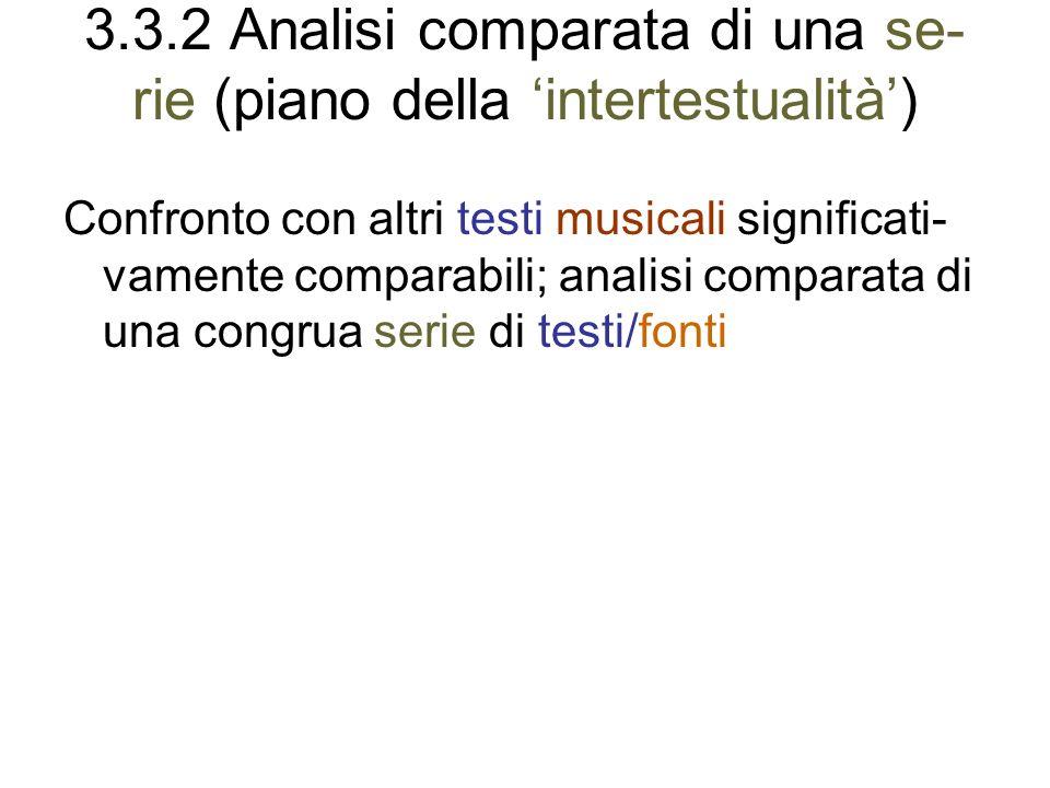 3.3.2 Analisi comparata di una se- rie (piano della intertestualità) Confronto con altri testi musicali significati- vamente comparabili; analisi comp