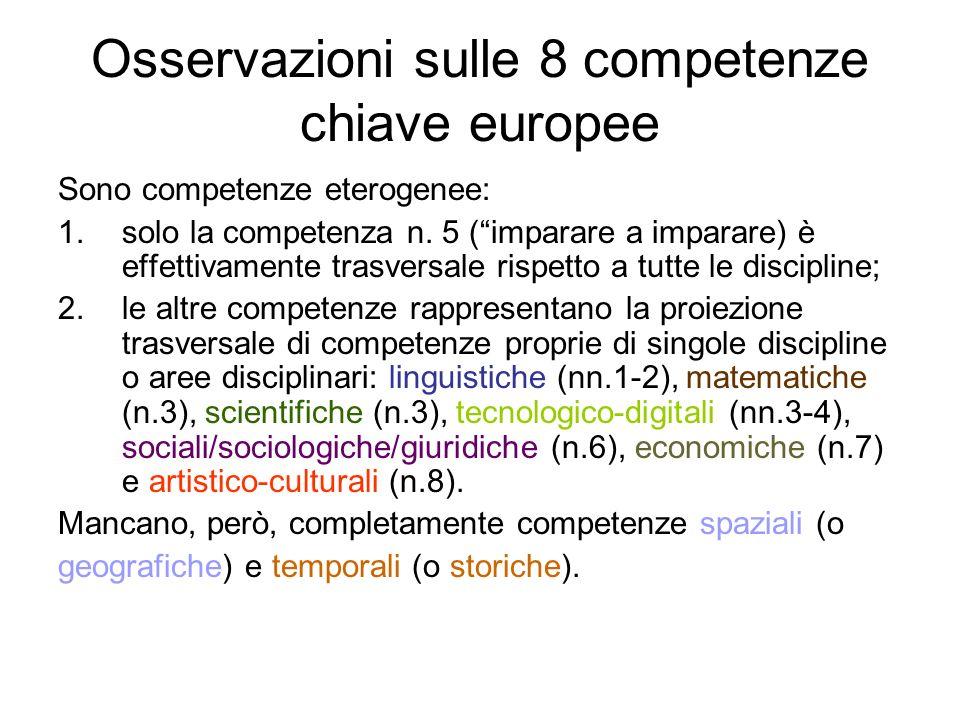 Osservazioni sulle 8 competenze chiave europee Sono competenze eterogenee: 1.solo la competenza n. 5 (imparare a imparare) è effettivamente trasversal