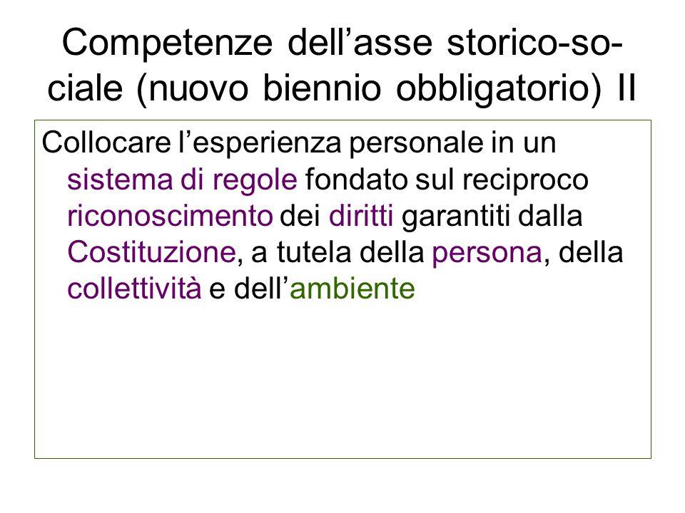 Competenze dellasse storico-so- ciale (nuovo biennio obbligatorio) II Collocare lesperienza personale in un sistema di regole fondato sul reciproco ri