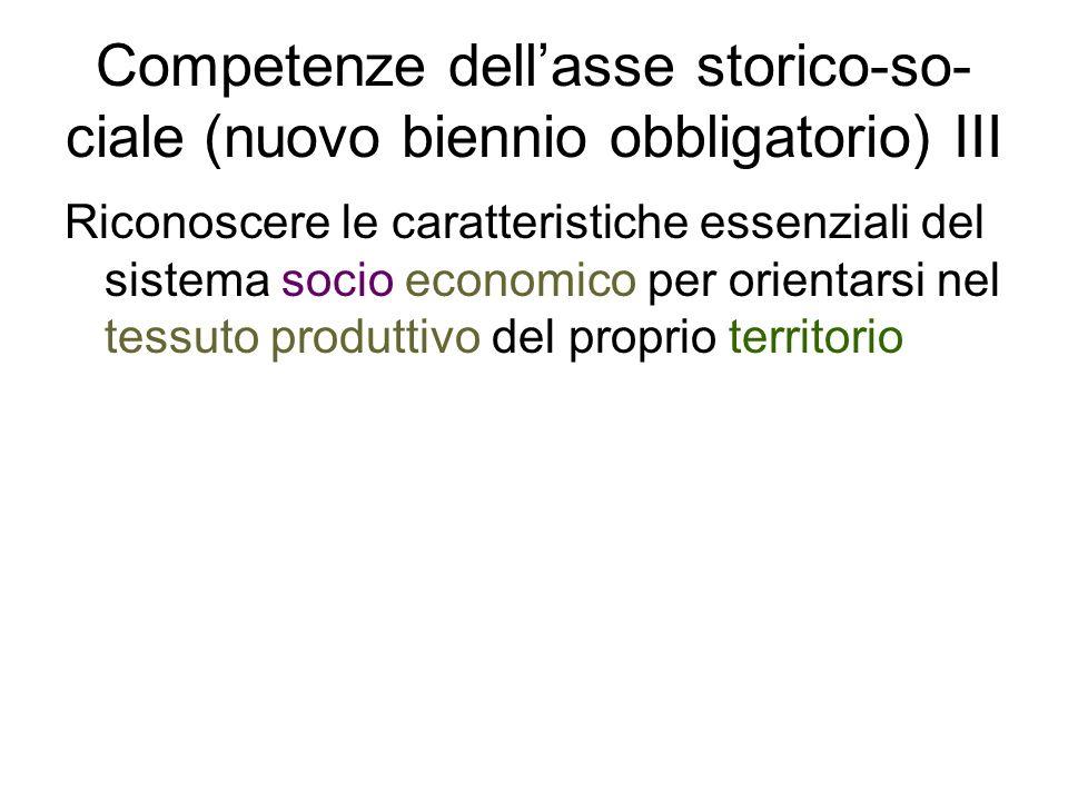 Competenze dellasse storico-so- ciale (nuovo biennio obbligatorio) III Riconoscere le caratteristiche essenziali del sistema socio economico per orien