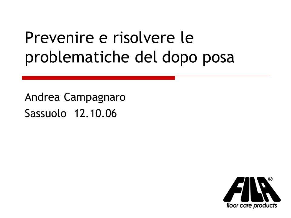 Prevenire e risolvere le problematiche del dopo posa Andrea Campagnaro Sassuolo 12.10.06