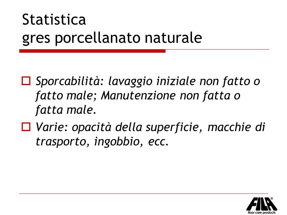 Statistica gres porcellanato naturale Sporcabilità: lavaggio iniziale non fatto o fatto male; Manutenzione non fatta o fatta male. Varie: opacità dell
