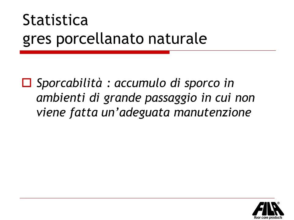 Statistica gres porcellanato naturale Sporcabilità : accumulo di sporco in ambienti di grande passaggio in cui non viene fatta unadeguata manutenzione