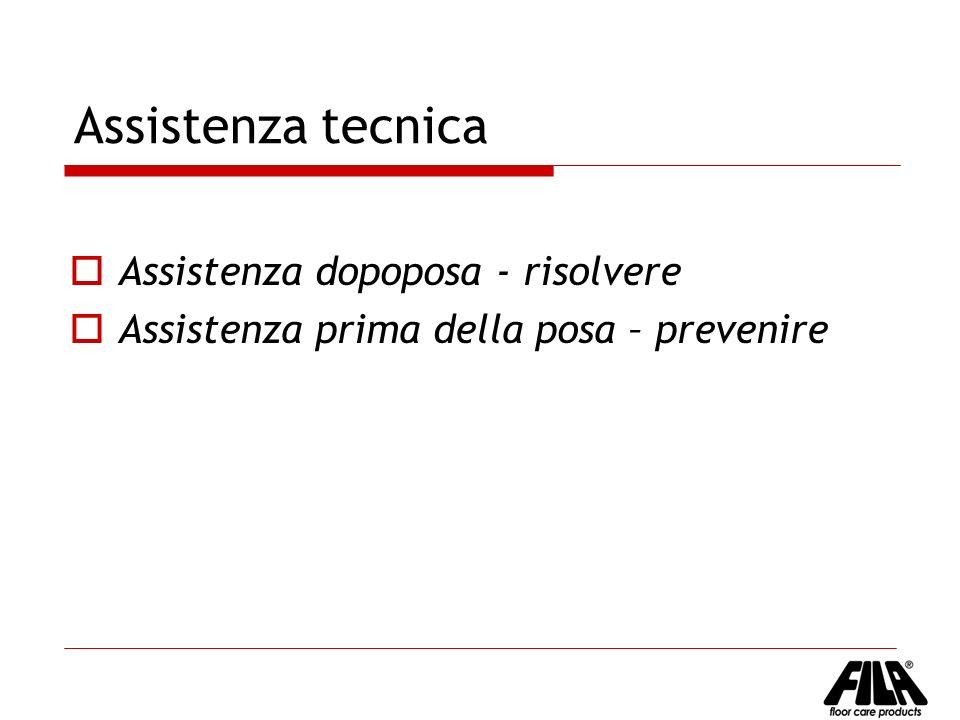 Assistenza tecnica Assistenza dopoposa - risolvere Assistenza prima della posa – prevenire