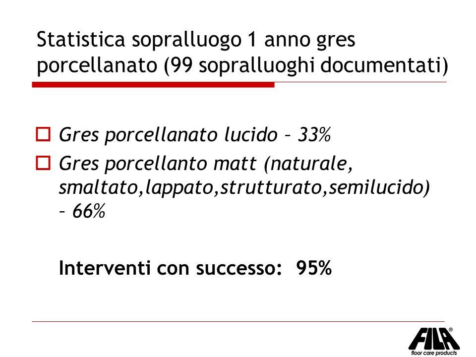 Statistica sopralluogo 1 anno gres porcellanato (99 sopralluoghi documentati) Gres porcellanato lucido – 33% Gres porcellanto matt (naturale, smaltato
