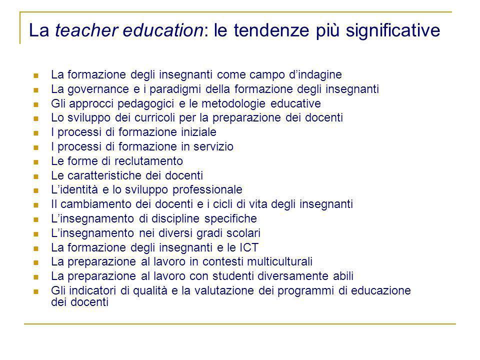 La teacher education: le tendenze più significative La formazione degli insegnanti come campo dindagine La governance e i paradigmi della formazione d