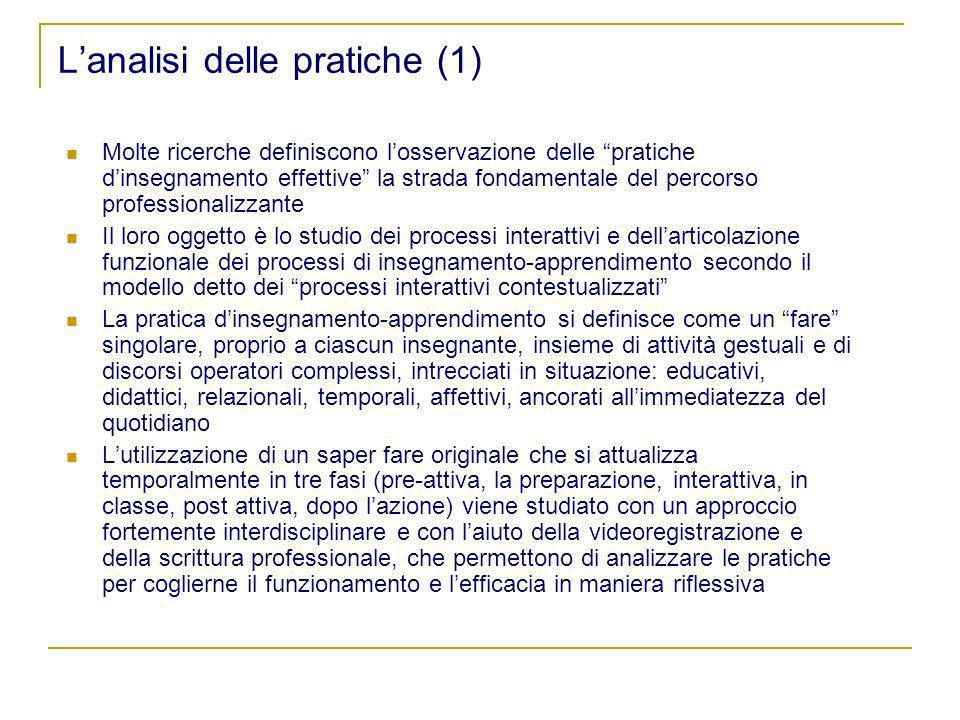 Lanalisi delle pratiche (1) Molte ricerche definiscono losservazione delle pratiche dinsegnamento effettive la strada fondamentale del percorso profes