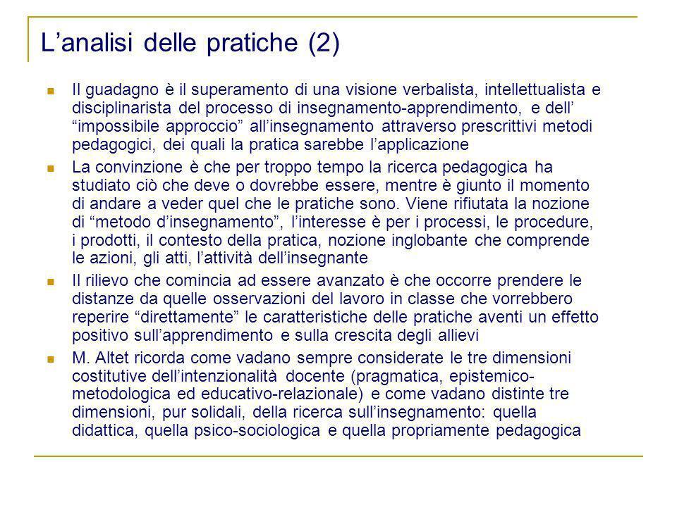 Lanalisi delle pratiche (2) Il guadagno è il superamento di una visione verbalista, intellettualista e disciplinarista del processo di insegnamento-ap