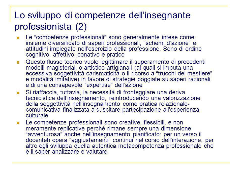 Lo sviluppo di competenze dellinsegnante professionista (2) Le competenze professionali sono generalmente intese come insieme diversificato di saperi