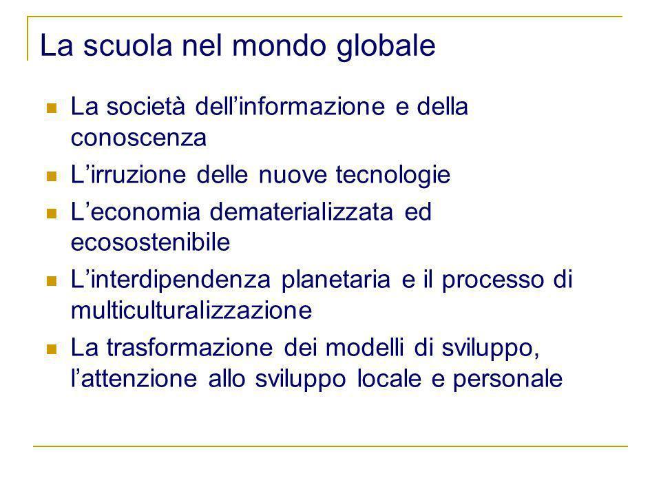 La scuola nel mondo globale La società dellinformazione e della conoscenza Lirruzione delle nuove tecnologie Leconomia dematerializzata ed ecosostenib