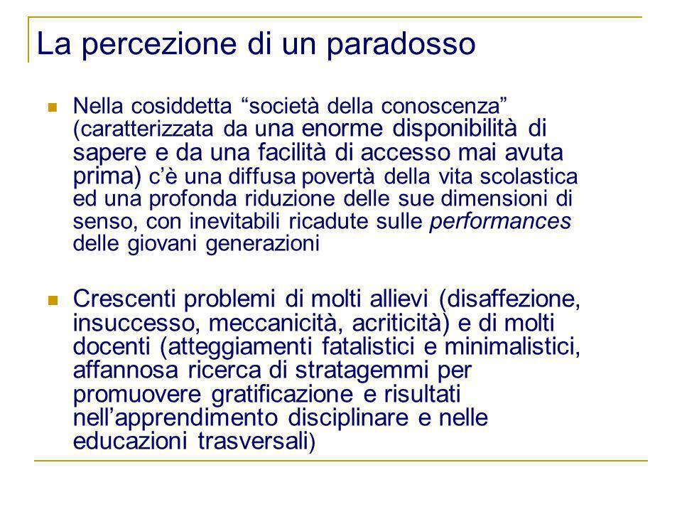 La percezione di un paradosso Nella cosiddetta società della conoscenza (caratterizzata da u na enorme disponibilità di sapere e da una facilità di ac