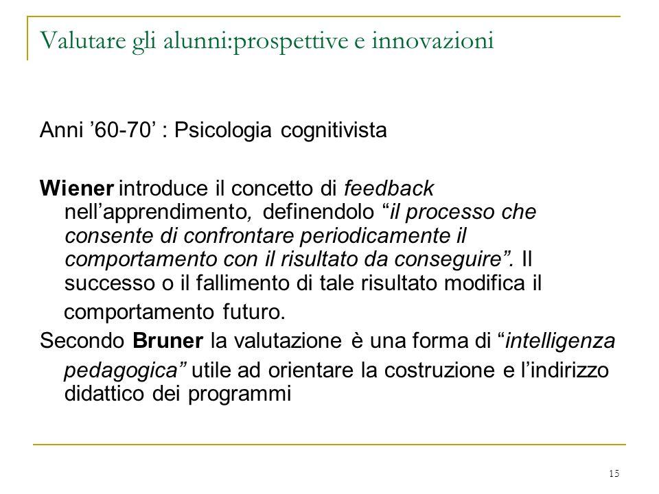 15 Valutare gli alunni:prospettive e innovazioni Anni 60-70 : Psicologia cognitivista Wiener introduce il concetto di feedback nellapprendimento, defi