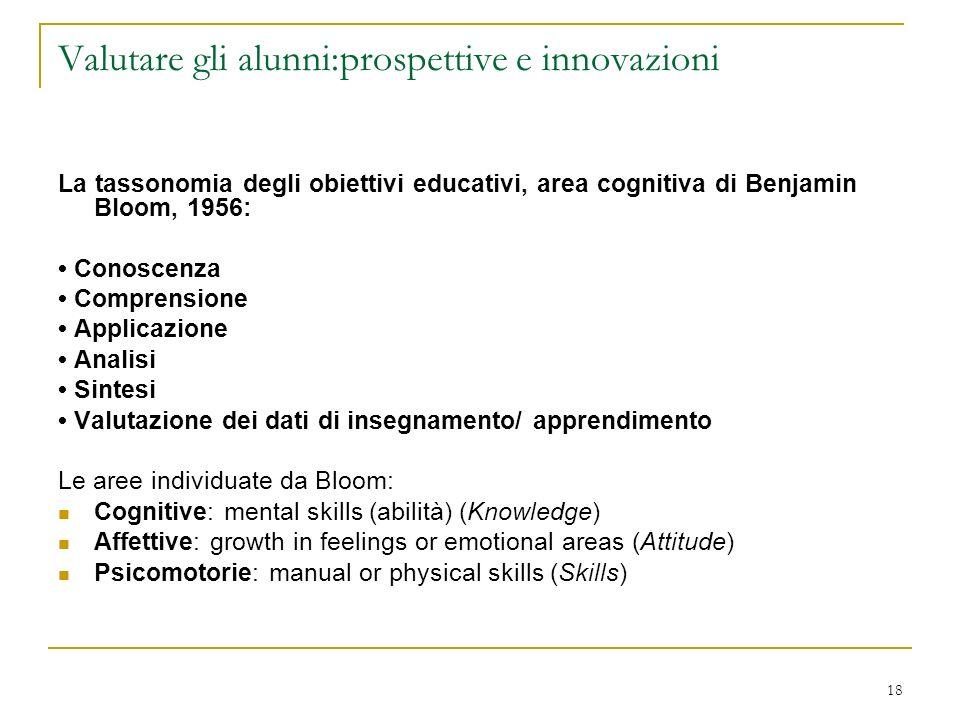 18 Valutare gli alunni:prospettive e innovazioni La tassonomia degli obiettivi educativi, area cognitiva di Benjamin Bloom, 1956: Conoscenza Comprensi