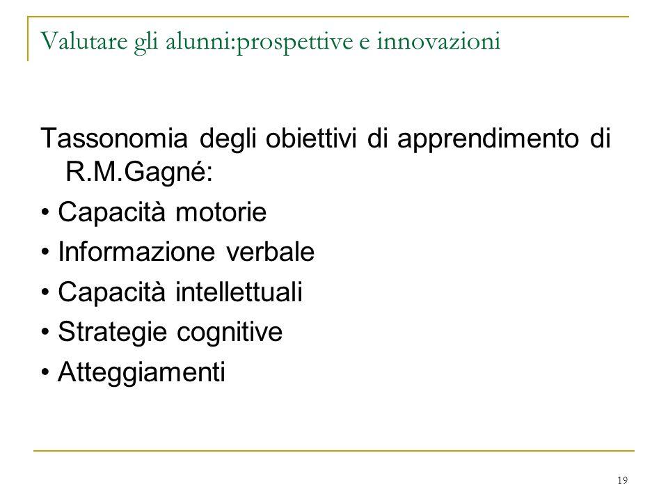 19 Valutare gli alunni:prospettive e innovazioni Tassonomia degli obiettivi di apprendimento di R.M.Gagné: Capacità motorie Informazione verbale Capac