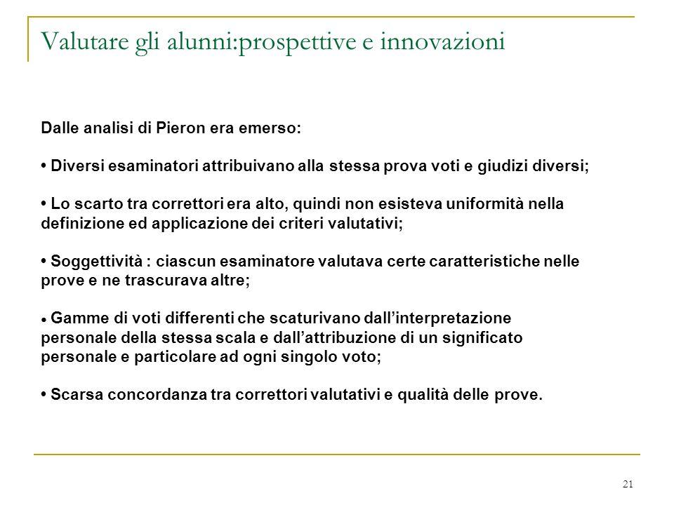 21 Valutare gli alunni:prospettive e innovazioni Dalle analisi di Pieron era emerso: Diversi esaminatori attribuivano alla stessa prova voti e giudizi