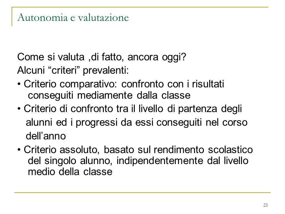 25 Autonomia e valutazione Come si valuta,di fatto, ancora oggi? Alcuni criteri prevalenti: Criterio comparativo: confronto con i risultati conseguiti