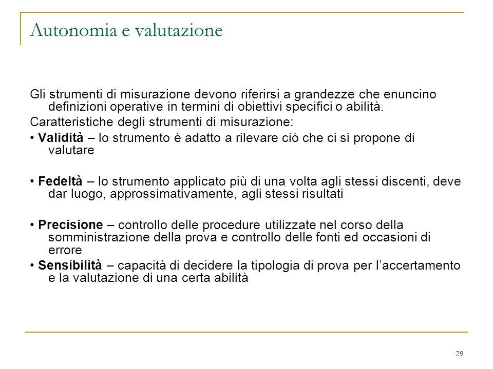 29 Autonomia e valutazione Gli strumenti di misurazione devono riferirsi a grandezze che enuncino definizioni operative in termini di obiettivi specif
