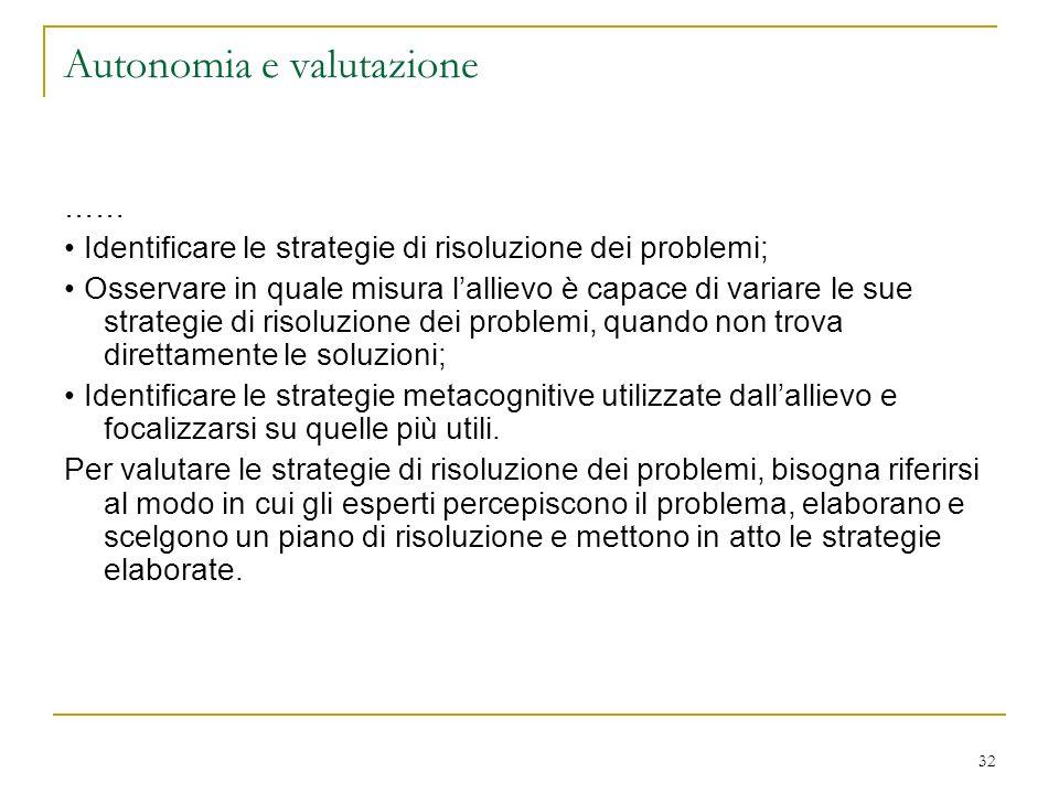 32 Autonomia e valutazione …… Identificare le strategie di risoluzione dei problemi; Osservare in quale misura lallievo è capace di variare le sue str