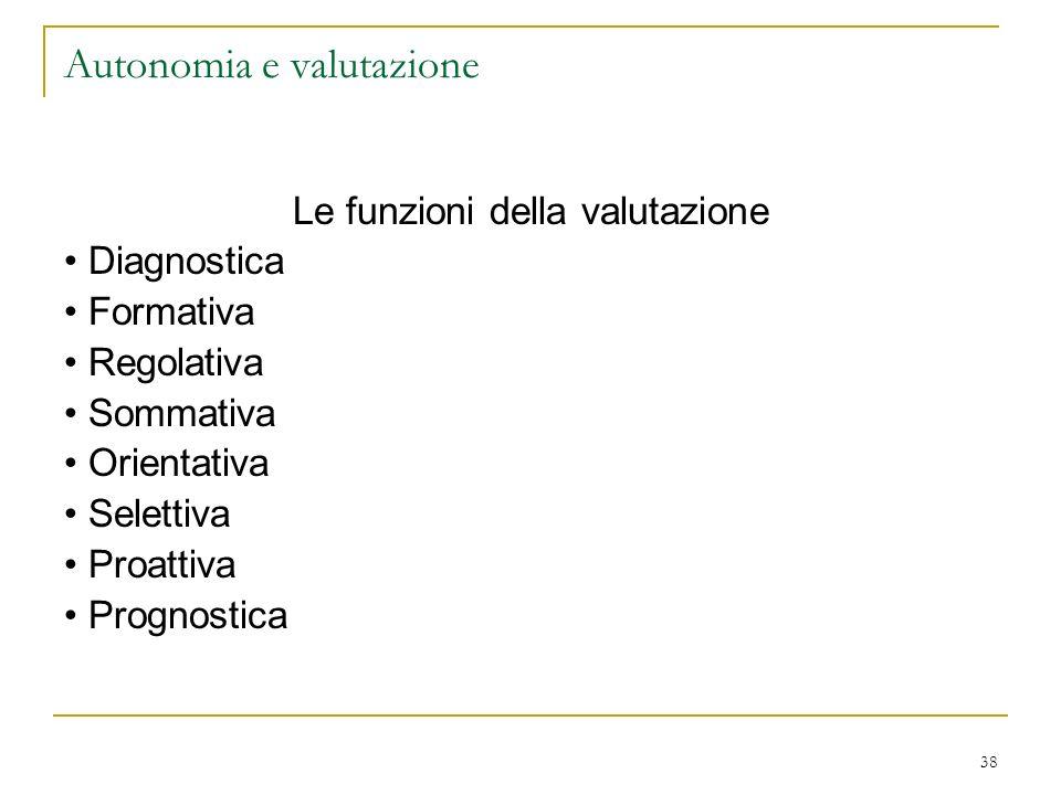 38 Autonomia e valutazione Le funzioni della valutazione Diagnostica Formativa Regolativa Sommativa Orientativa Selettiva Proattiva Prognostica