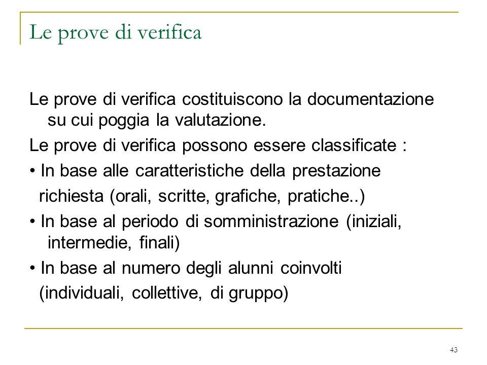 43 Le prove di verifica Le prove di verifica costituiscono la documentazione su cui poggia la valutazione. Le prove di verifica possono essere classif