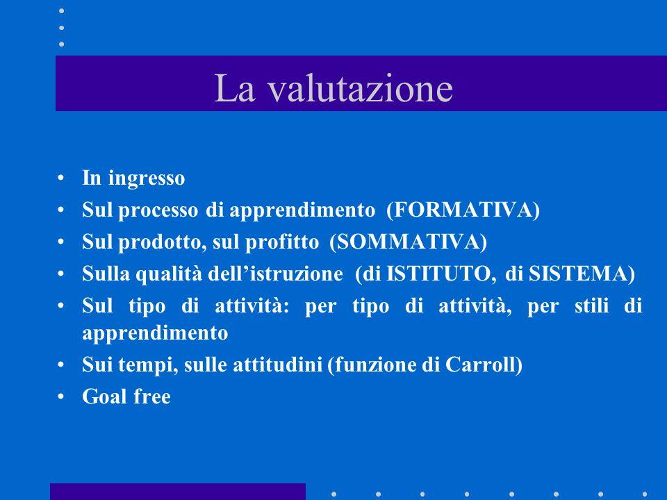 La valutazione In ingresso Sul processo di apprendimento (FORMATIVA) Sul prodotto, sul profitto (SOMMATIVA) Sulla qualità dellistruzione (di ISTITUTO, di SISTEMA) Sul tipo di attività: per tipo di attività, per stili di apprendimento Sui tempi, sulle attitudini (funzione di Carroll) Goal free