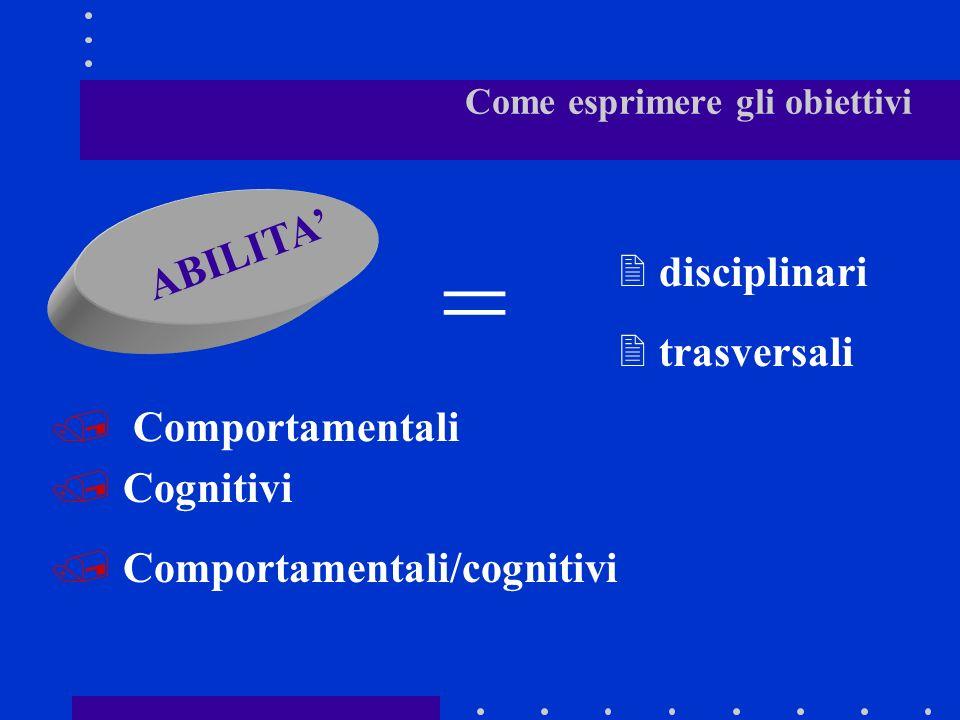 Come esprimere gli obiettivi conoscenze capacità abilità trasversali competenze