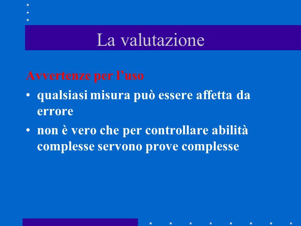 La valutazione misurazione Verifica VALUTAZIONE Elementi di soggettività EFFETTO alone ERRORE casuale di aspettativa di contrasto di assuefazione VARI