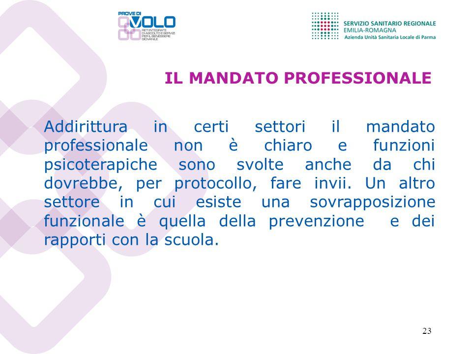 23 IL MANDATO PROFESSIONALE Addirittura in certi settori il mandato professionale non è chiaro e funzioni psicoterapiche sono svolte anche da chi dovrebbe, per protocollo, fare invii.