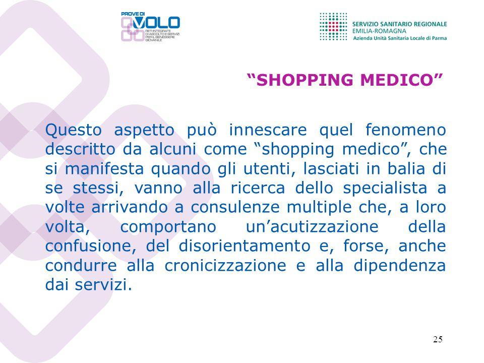 25 SHOPPING MEDICO Questo aspetto può innescare quel fenomeno descritto da alcuni come shopping medico, che si manifesta quando gli utenti, lasciati i
