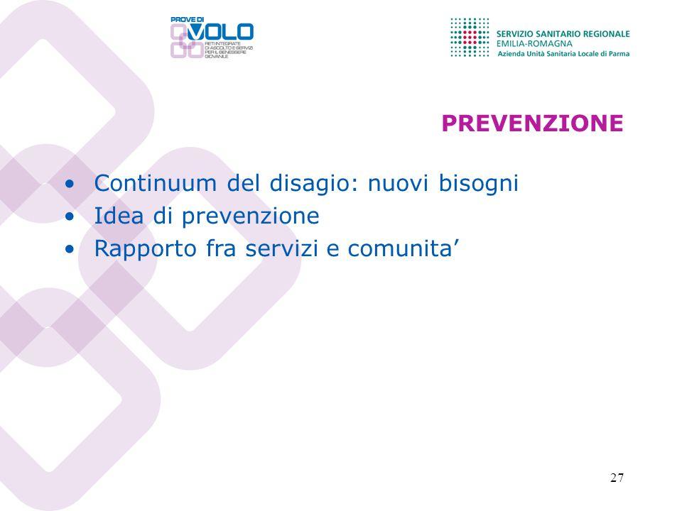 27 PREVENZIONE Continuum del disagio: nuovi bisogni Idea di prevenzione Rapporto fra servizi e comunita