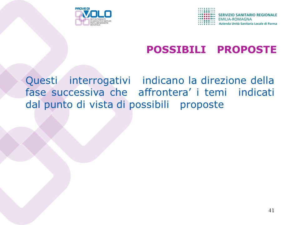 41 POSSIBILI PROPOSTE Questi interrogativi indicano la direzione della fase successiva che affrontera i temi indicati dal punto di vista di possibili proposte