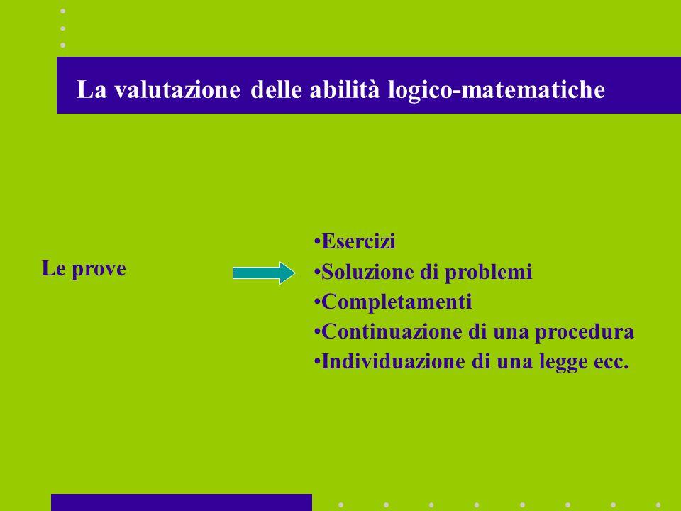 La valutazione delle abilità logico-matematiche Le prove Esercizi Soluzione di problemi Completamenti Continuazione di una procedura Individuazione di una legge ecc.