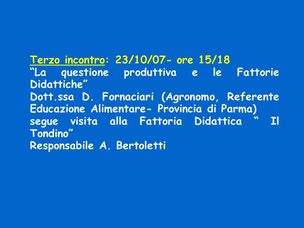 Terzo incontro: 23/10/07- ore 15/18 La questione produttiva e le Fattorie Didattiche Dott.ssa D.