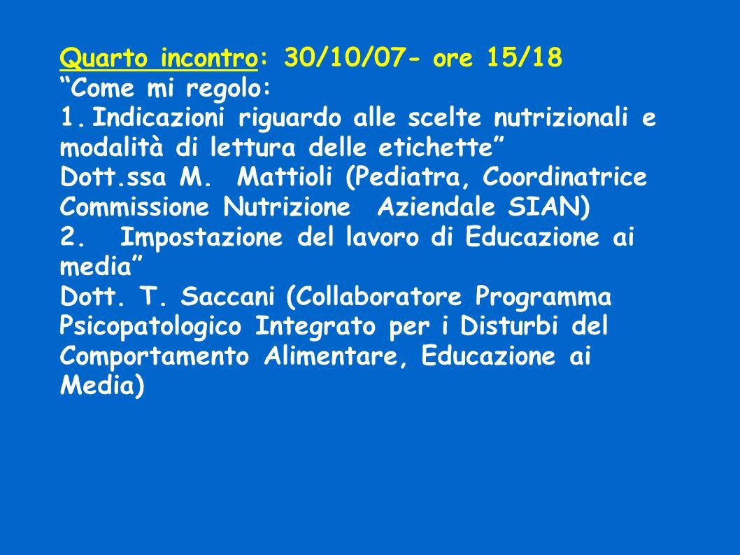 Quarto incontro: 30/10/07- ore 15/18 Come mi regolo: 1.Indicazioni riguardo alle scelte nutrizionali e modalità di lettura delle etichette Dott.ssa M.
