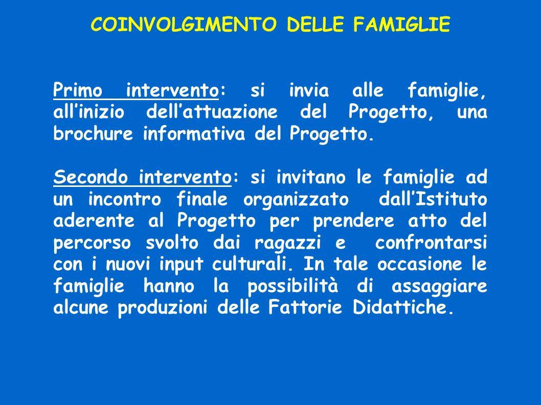 COINVOLGIMENTO DELLE FAMIGLIE Primo intervento: si invia alle famiglie, allinizio dellattuazione del Progetto, una brochure informativa del Progetto.