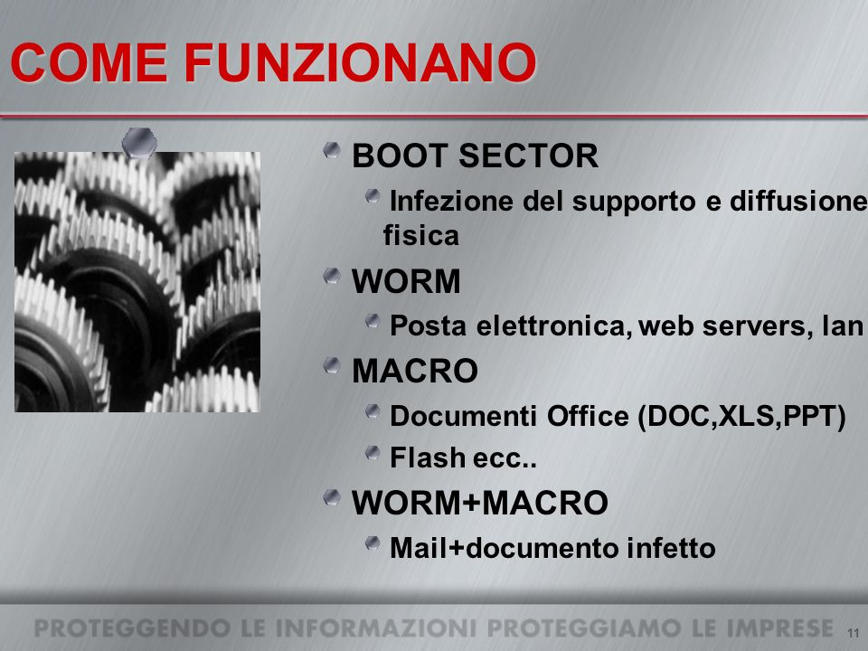11 COME FUNZIONANO BOOT SECTOR Infezione del supporto e diffusione fisica WORM Posta elettronica, web servers, lan MACRO Documenti Office (DOC,XLS,PPT) Flash ecc..