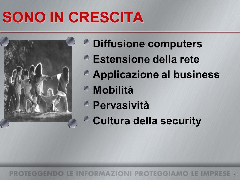13 SONO IN CRESCITA Diffusione computers Estensione della rete Applicazione al business Mobilità Pervasività Cultura della security