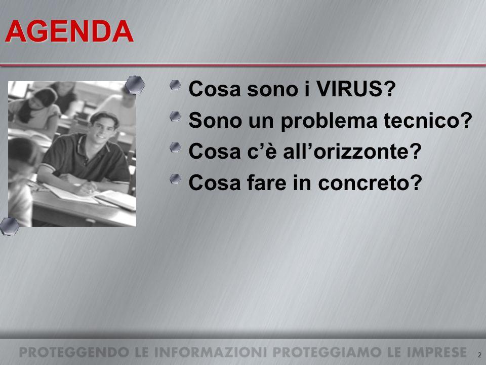 2AGENDA Cosa sono i VIRUS Sono un problema tecnico Cosa cè allorizzonte Cosa fare in concreto
