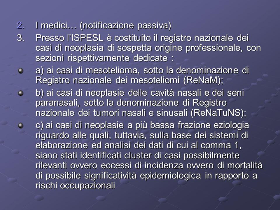 2.I medici… (notificazione passiva) 3.Presso lISPESL è costituito il registro nazionale dei casi di neoplasia di sospetta origine professionale, con s
