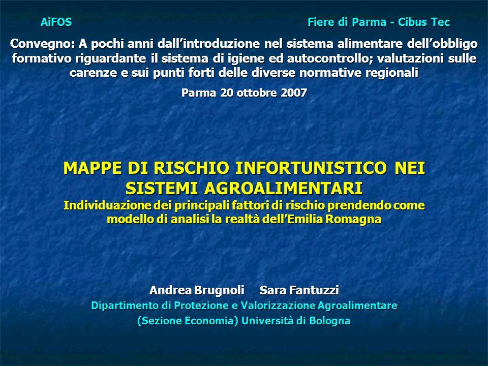CIBUS TEC 20072 Introduzione Lo studio è parte integrante di una ricerca finanziata dallISPESL tesa ad analizzare il rischio occupazionale nei distretti agroalimentari di alcune regioni italiane.