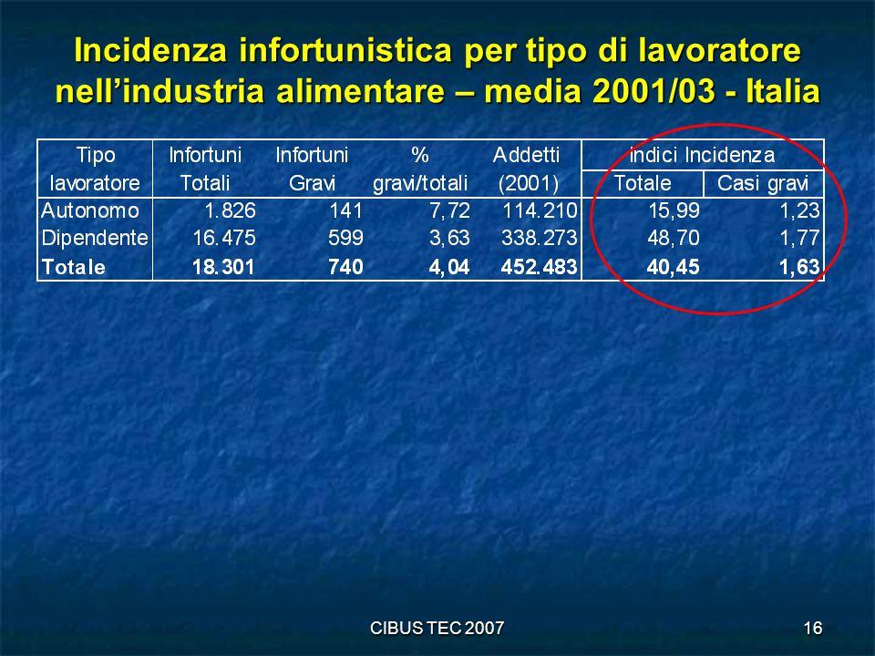 CIBUS TEC 200716 Incidenza infortunistica per tipo di lavoratore nellindustria alimentare – media 2001/03 - Italia