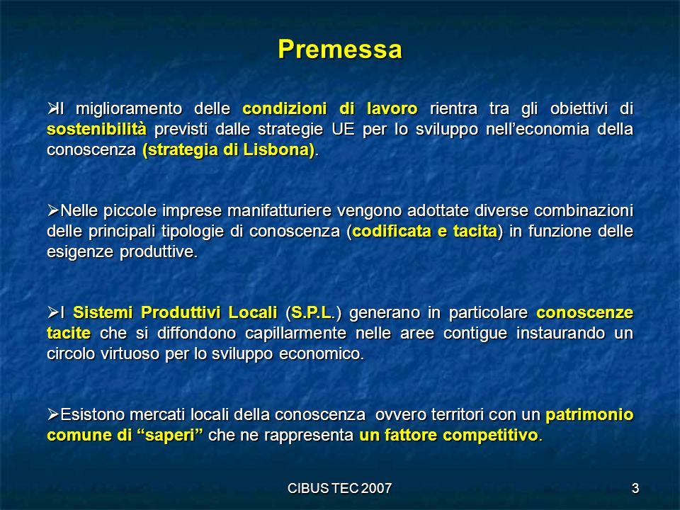 CIBUS TEC 20074 Obiettivi principali della ricerca Individuare sistemi agroalimentari territoriali intesi come aree omogenee rispetto alle caratteristiche strutturali delle imprese agroindustriali e dei loro addetti.