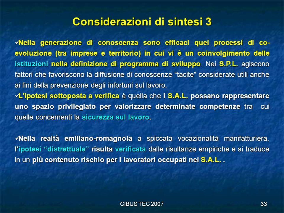 CIBUS TEC 200733 Considerazioni di sintesi 3 Nella generazione di conoscenza sono efficaci quei processi di co- evoluzione (tra imprese e territorio) in cui vi è un coinvolgimento delle istituzioni nella definizione di programma di sviluppo.