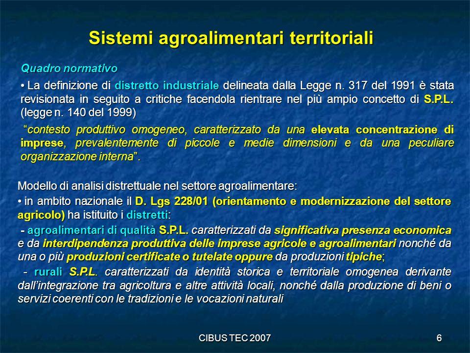 CIBUS TEC 20077 Individuazione dei Sistemi Agroalimentari Locali (S.A.L) Gli indicatori utilizzati per delineare il profilo dei diversi sistemi produttivi locali fanno riferimento prevalentemente alle variabili rilevate con il Censimento dellIndustria: forma giuridica, dimensione (in termini di addetti), struttura delloccupazione e settore di attività economica (classificazione ATECO).