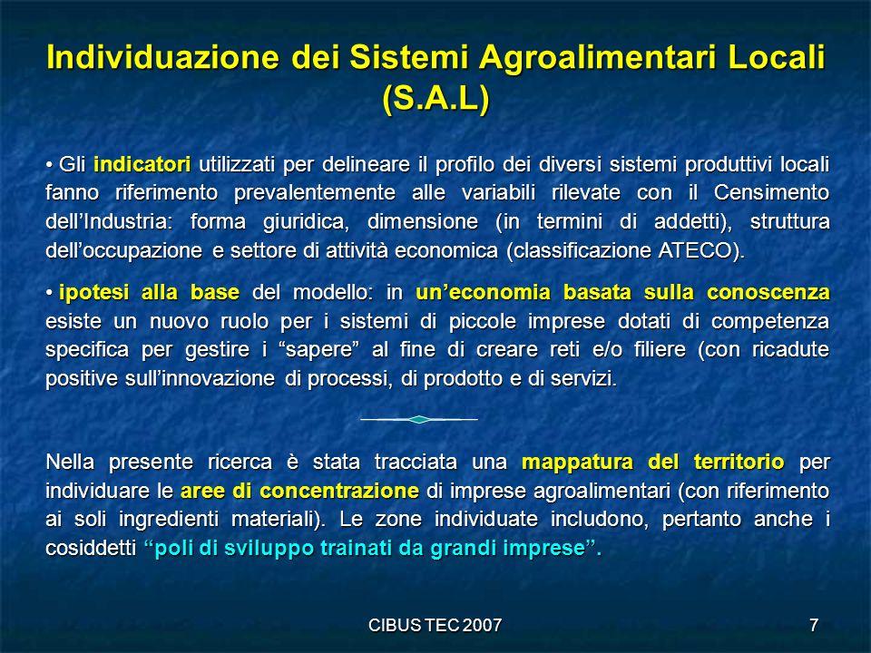 CIBUS TEC 20078 Distribuzione delle imprese e relativi addetti dellindustria alimentare per settore di attività - 2001